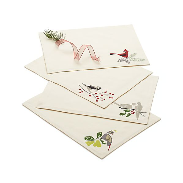 Set Of 4 Winter Birds Placemats Crate And Barrel