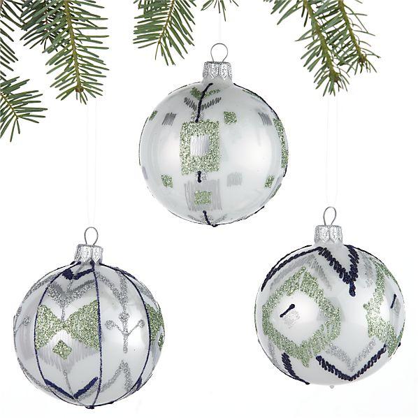 Set of 3 Ikat Winter White Ball Ornaments
