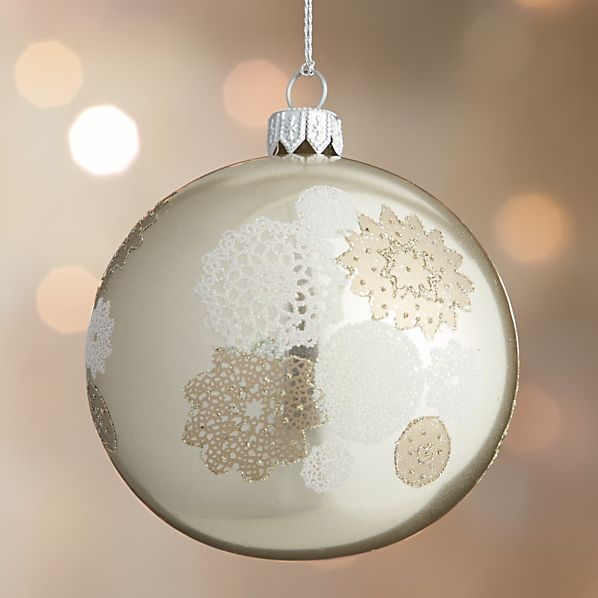 Gold Winter White Lace Ball Ornament