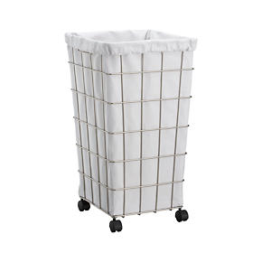 Wire Hamper with White Liner Set