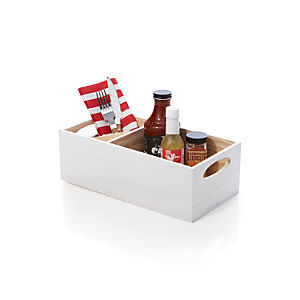 White Wood Flatware Caddy