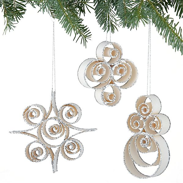 Set of 3 Wood Curl Shape Ornaments