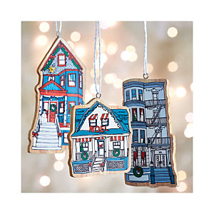 Wood-Cut Neighborhood Ornaments Set of Three