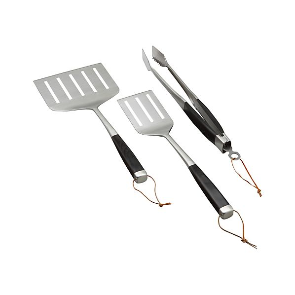 3-Piece Wood-Handled Grill Tool Set