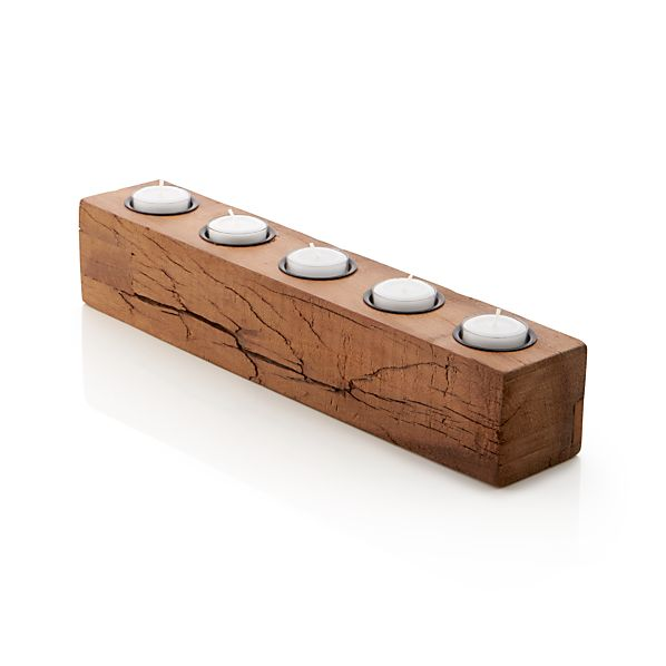 Woodsy wood tea light candle holder crate and barrel Wood candle holders
