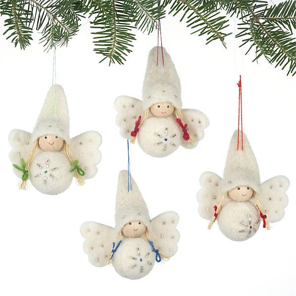 Set of 4 Wool Angel Ornaments