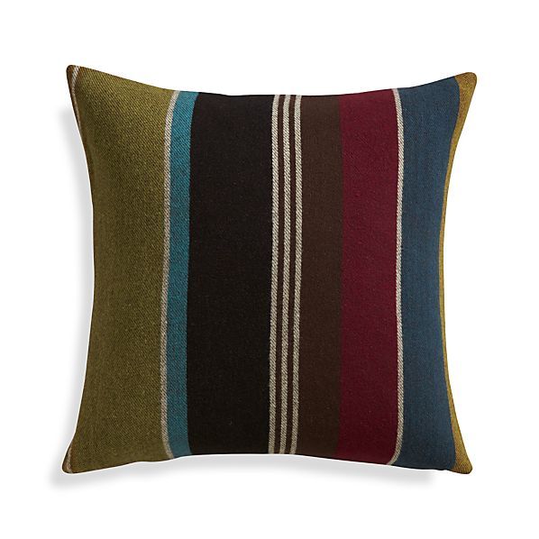 "Woolen Stripe 20"" Pillow with Feather Insert"