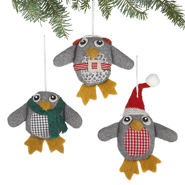 Set of 3 Wooly Penguin Ornaments