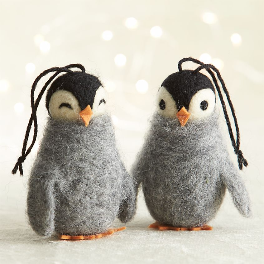 Crate & Barrel Wooly Penguin Ornaments