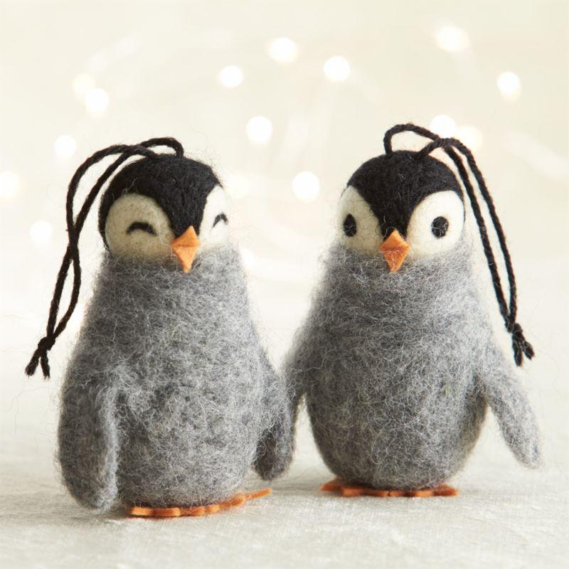 Crate & Barrel Wooly Penguin Ornaments