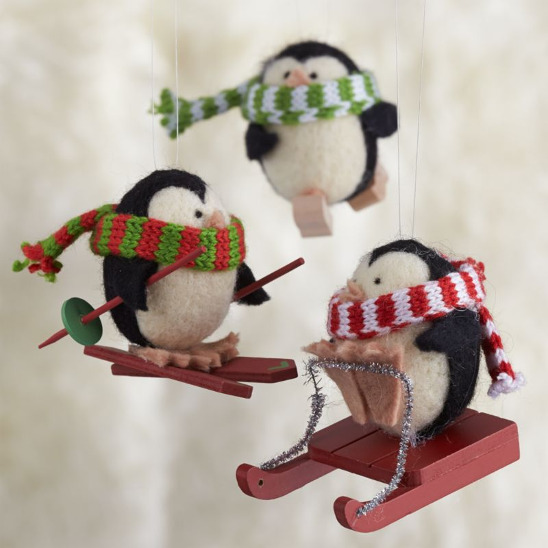 Wool Penguin Ornaments