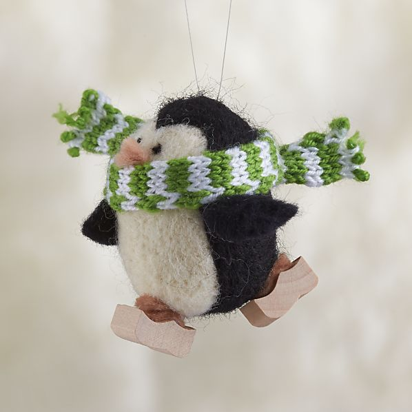 Wooly Winter Sport Penguin Skating Ornament
