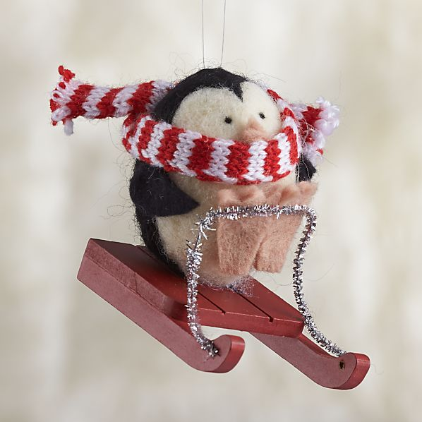 Wooly Winter Sport Penguin Sledding Ornament