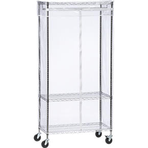 Work Mobile 3-Shelf Garment Rack with Clear Cover
