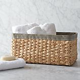 Large Woven Bin with Grey Trim