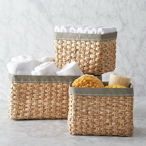 Set of 3 Woven Bins with Grey Trim