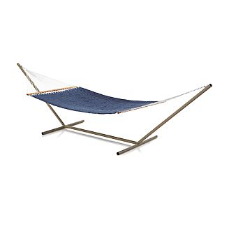 Woven Blue Hammock with Stand Set