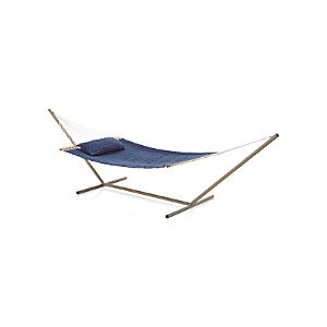 Woven Blue Hammock with Pillow and Stand Set