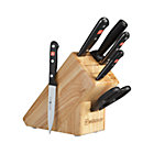 "Wüsthof ® Gourmet 7-Piece Knife Block Set: 3"" paring knife, 4.5"" utility knife, 6"" chef's knife, 6"" bread knife, sharpening steel, kitchen shears and rubberwood knife block."