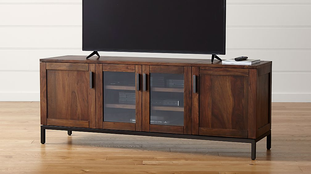 """Crate And Barrel Glass Dining Table ... 72"""" Media Console in TV Stands & Media Consoles 