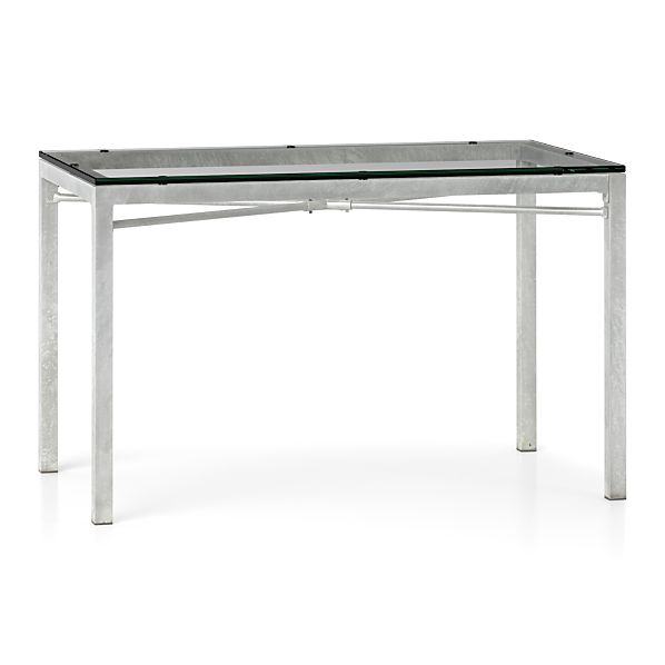 Clear Glass Top/ Zinc X-Base 48x28 Dining Table