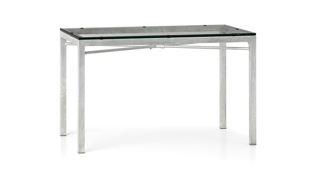 Clear Glass Top Zinc X Base 60x36 Dining Table in Dining  : glass top zinc x base parsons dining tables from crateandbarrel.com size 1008 x 567 jpeg 20kB