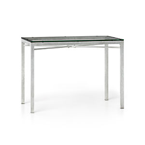 Glass Top/ Zinc X-Base 48x28 High Dining Table