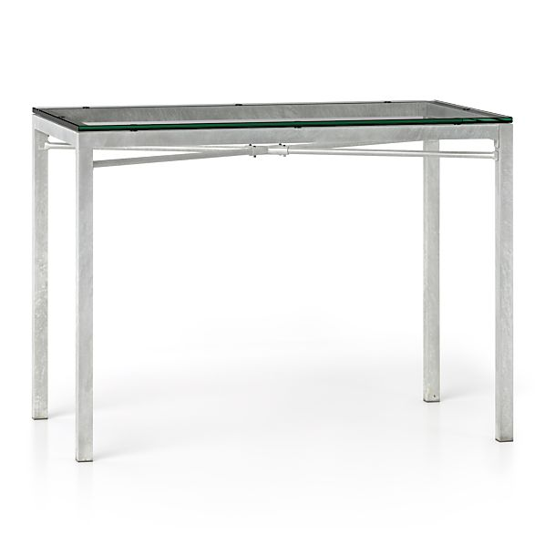 Clear Glass Top/ Zinc X-Base 48x28 High Dining Table