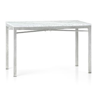 Marble Top/ Zinc X-Base 48x28 Dining Table