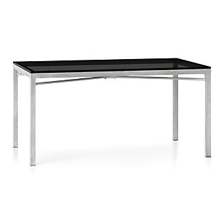Grey Glass Top/ Zinc X-Base 60x36 Dining Table