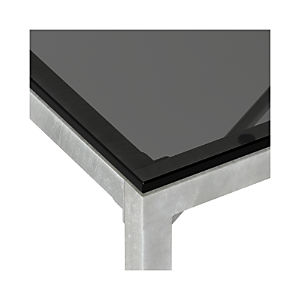 Grey Glass Top/ Zinc X-Base Dining Tables