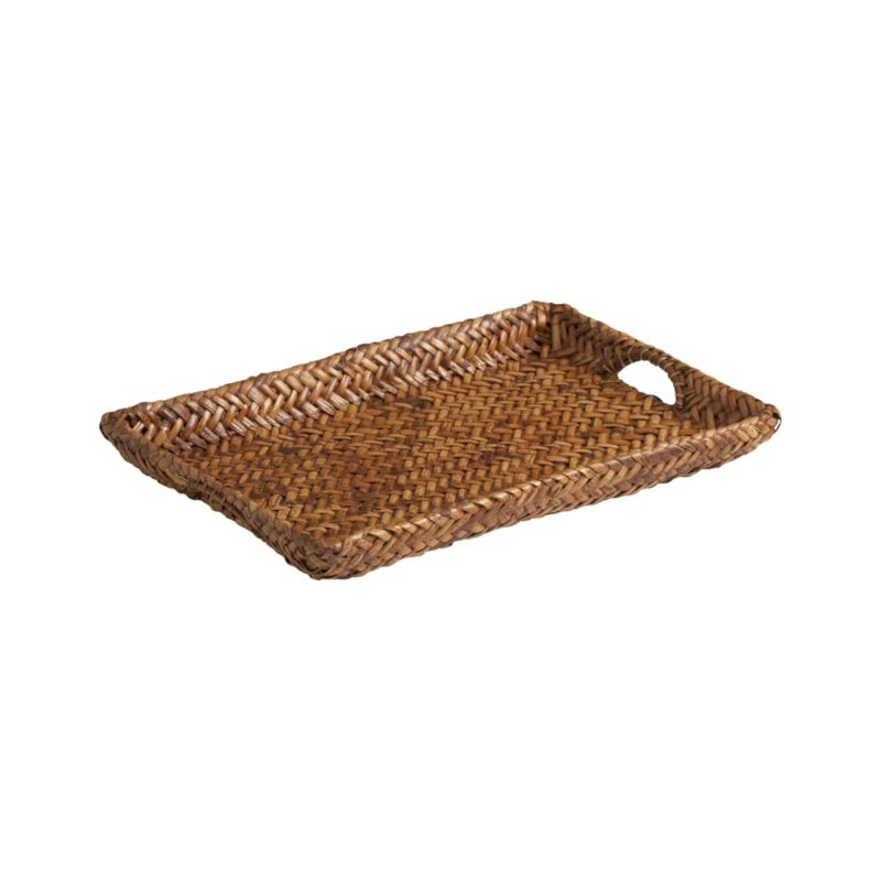 Exclusive tray is handwoven of rattan in a distinctive continuous weave over a sturdy metal frame. Each unique tray is antiqued a warm brown using a multistep finishing process.<br /><br /><NEWTAG/><ul><li>Rattan</li><li>Metal frame</li><li>Water-based antiqued brown finish</li><li>Foodsafe</li><li>For indoor use only</li><li>Made in The Philippines</li></ul>