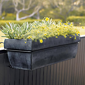 Zinc Rectangular Planter and Rail Hook