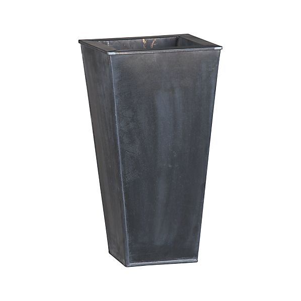 "Zinc 19.5"" Tall Square Planter"