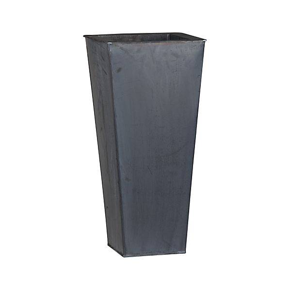 "Zinc 27.5"" Tall Square Planter"
