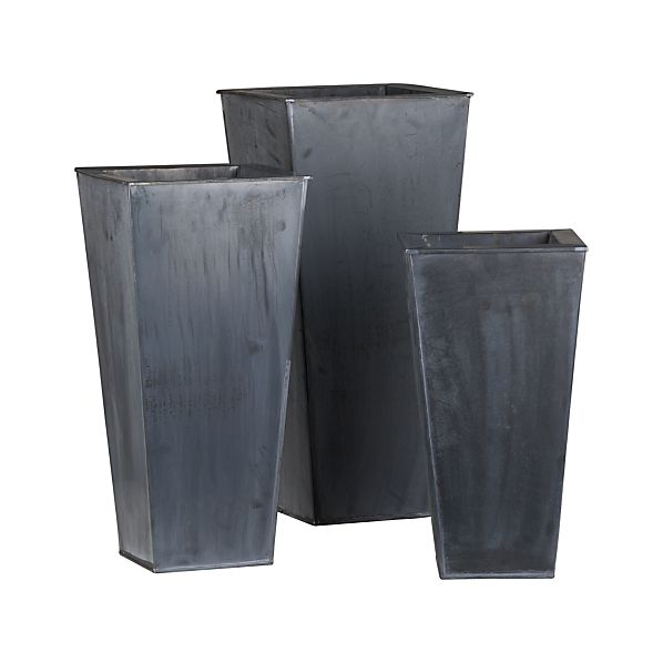Set of 3 Zinc Tall Square Planters