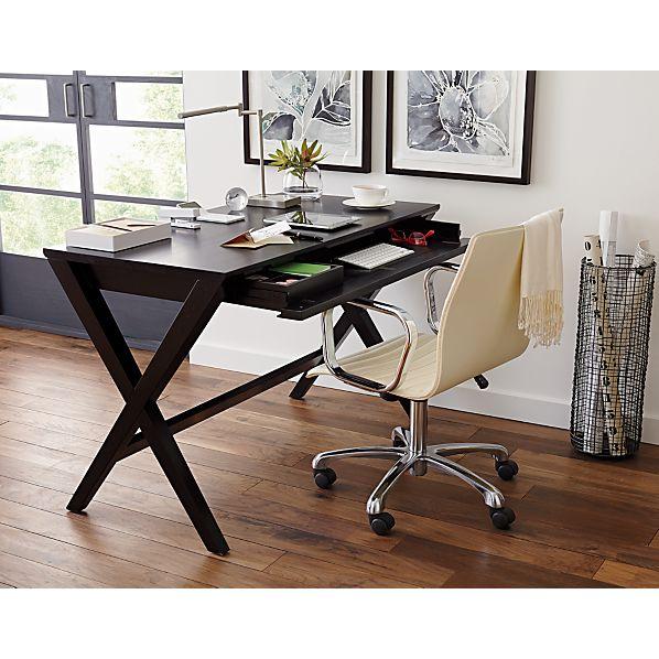 spotlight ebony 48 desk crate and barrel. Black Bedroom Furniture Sets. Home Design Ideas