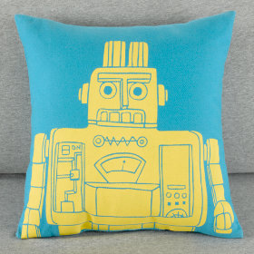 Robo-Throw Pillow (Teal)