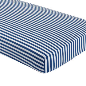 New School Crib Fitted Sheet (Blue Stripe)