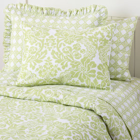 Green Lattice and Wallpaper Floral Bedding