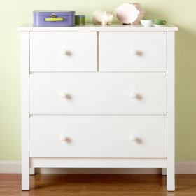 Simple 2-Over-2 Dresser (White)