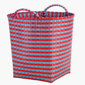 Striped Strapping Floor Bin (Red/Blue)