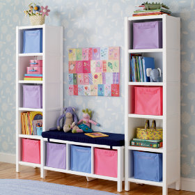 5-Cube Bookcase & 3-Cube Bench (White)