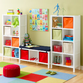 8-Cube Bookcase &amp; 3-Cube Bench (White)