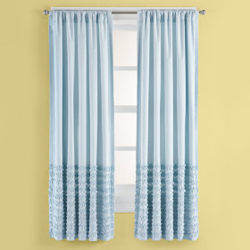Multi Ruffle Curtain Panels (Blue)