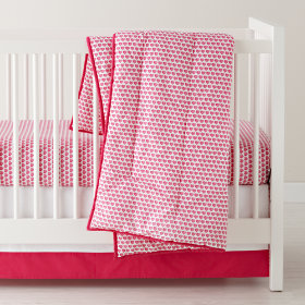 Fine Prints Reversible Crib Skirt (Pink Hearts)