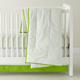 Fine Prints Crib Skirt (Green XO)