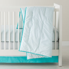 Fine Prints Crib Skirt (Aqua Diamonds)