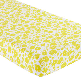 Crib Fitted Sheet (Yellow Floral Print)
