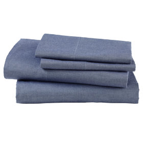 Crystal Blue Chambray Sheet Set